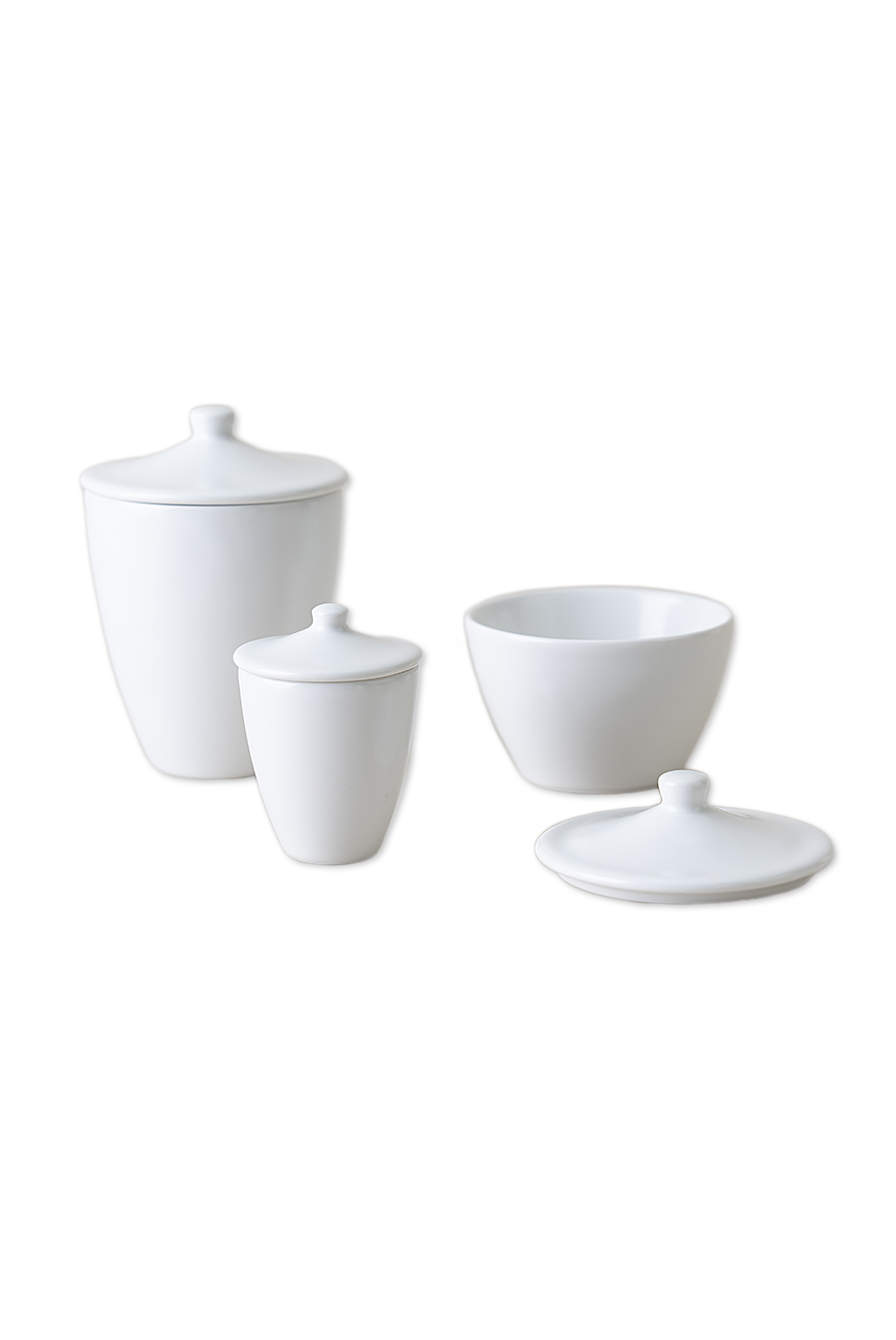 White porcelain pot with lid